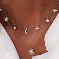 Crystal Gold Multilayer Chain Opal Pendant Moon Star Necklace Choker Collar