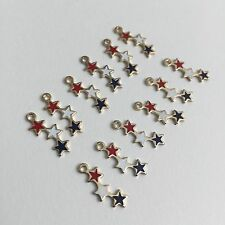 Vintage Enamel Star Dangle Bead Charm components red white blue 12pcs Deadstock