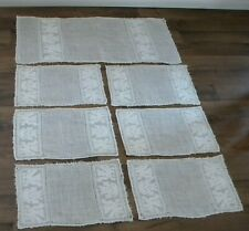 Antique Italian Placemats Linen HandWoven Embroidered Runner Napkins Winged Lion