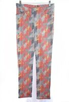 Inspired Style by Spanner Womens Retro Straight Skinnny Pants Print Sz 4 Small