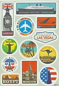 """Sticker Decal Sticker Set """" Reise-Mix """" - Suitcase, Laptop, Stickerbomb (C)"""