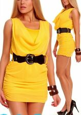 SeXy double Style Chiffon Raff Mini Kleid +Gürtel 34/36/38 gelb TOP NEU