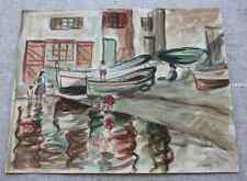 Aquarelle Robert Fraulob (1927 -) Petite crique La Ponche annotée St Tropez 1951