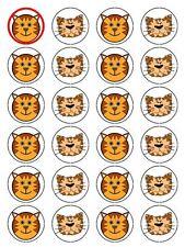 X24 CARTOON Tiger FACE TAZZA DECORAZIONI PER TORTA DECORAZIONI su Commestibili Carta di riso