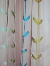 2 Vorhänge Gardinen weiß türkis beige grün Schlaufen transparent B/H 140 x 245