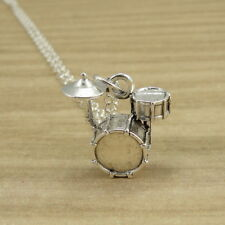 Silver Drum Set Necklace - Drummer Band Charm - Percussion Jewelry NEW
