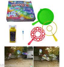 Big Bubble Maker Wand Rings Toy Non-Tonix Solution Kit Double Giant Soap Bubbles