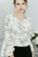 2018 Stylish Summer Women Ruffle Long Sleeve Shirt OL Tops Casual Chiffon Blouse