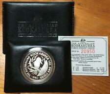 1990 1 OZ SILVER KOOKABURRA...1ST PROOF ISSUE in ORIGINAL LEATHER WALLET.