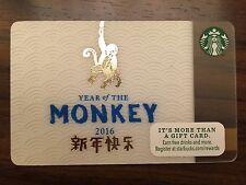 HTF Starbucks 2016 YEAR OF THE MONKEY Gift Card Never Swiped NO $ VALUE