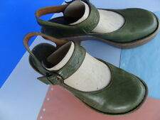 Born BRITTEN Green Leather Platform Slingback Ankle Strap Buckle Shoes Sz 7/ 38
