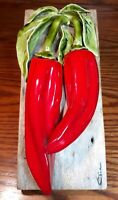 Large Vintage Carol Cline Ceramic Red Jalapeno Peppers Sculpture on Barn Wood