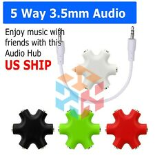 3.5mm Earphone Headphone 6way Audio Splitter 1 Male to 2 3 4 5 Female Port Cable