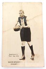 "1920s SCARCE ""SUPPLEMENT TO PALS AUG. 11TH."" DAVE McNAMARA, ST KILDA, R.P. CARD."