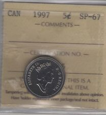 1997 Canada Five Cents (Nickel) Coin. ICCS SP-67