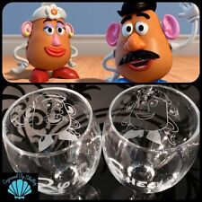 Personalised DISNEY Wedding Glasses Mr & Mrs Potato Head For Bride & Groom Pair