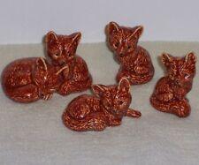 Ceramic Fox Set of 5, Hand Painted