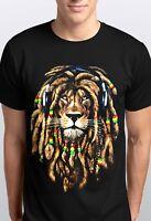 Men's Dreadlocks Rasta Lion  T Shirt Reggae Jamaican Ganja