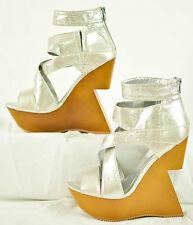 women's sexy beau & ashe silver metallic super high heels size 7 brand new