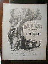 Partition Sheet Music 19 ème Siècle Madrilène L Micheli Polka Mazurka