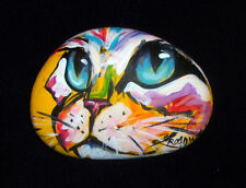 BROADWAY ORIGINAL COLORFUL ABSTRACT ART ROCK STONE ACRYLIC PAINTING CAT FACE