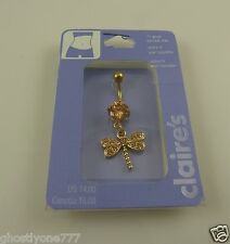 dragonfly goldtone belly button navel ring piercing naval crystal dragon fly