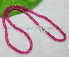 Faceted 2x4mm Rose Red Ruby Rondelle Gems Beads Necklace 18'' Silver Clasp AAA
