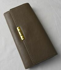 Fossil Mushroom Dark Olive Leather Knox Flap Clutch Checkbook Wallet