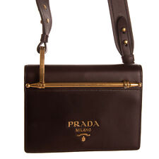 RRP €980 PRADA Leather Crossbody Clutch Bag Logo Magnetic Flap Made in Italy