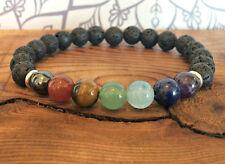 7 Chakra Bracelet with Volcanic Lava Healing Wrist Mala Beads Zen Spiritual Gift