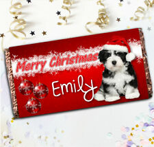 Personalised Puppy Merry Christmas Chocolate Bar N54 Girl Boy Stocking Filler