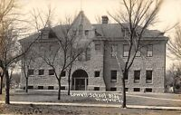 Winfield Kansas~Lowell School Building~Folks by Garage in Back~c1909 RPPC