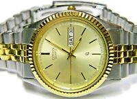 mens Citizen President Calendar Day Date Champagne Gold Plated & SS watch # 1102