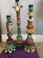 "3 Peggy Fairfax Herrick 1998 Whimsical Candle Holders 13.7""H; 12.1""H; 10.7""High"