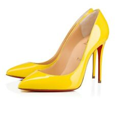 Christian Louboutin Pigalle Follies 100 Yellow Queen Patent Heel Pump Shoe 35