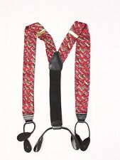 CAS Germany Mens Silk Braces Suspenders Red Yellow Green Rectangle Print Button