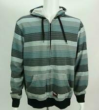 No Fear Cotton Blend Hoodie Mens Blue Gray Stripe Full Zip Size Large