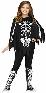 GIRLS SKELETON BONES PONCHO CAPE COSTUME ACCESSORY FW90395S