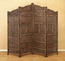 Wood Carved Panel Screen Room Divider 4 Asian Folding Antique Long Lasting Decor