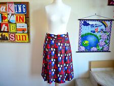 Hobbs mosaic silk blend skirt ~ UK 12 ~ red blue