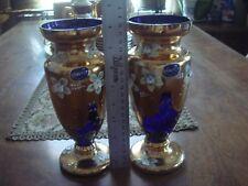 "2 Czech Republic Bohemia 8"" Blue & Gold Crystal Vases"