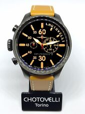 Chotovelli Mens Aviator Pilot Watch Black Chronograph dial leather Strap 52.12
