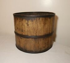 antique 19th century handmade wood and wrought iron cylindrical primitive bucket