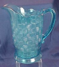 EAPG Basketweave Pattern Pitcher Blue Glass Co-operative Glass Co.