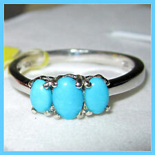 Sleeping Beauty Turquoise 3-stone Ring Platinum over Sterling Silver 925 sz 7
