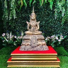 "16.8"" Asia Thai Buddhism Antique Bronze Buddha Statue Gold Gilt On Platform Rare"