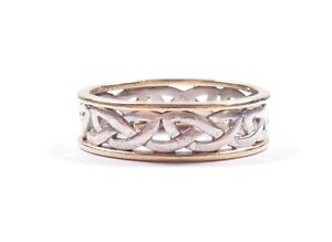 Celtic Band Ring Sterling Silver With 9 Carat Gold Border 4.6g