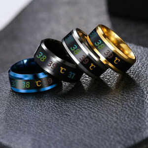 Fashion 8mm Men Women Couple Titanium Steel Finger Mood Temperature Display Ring