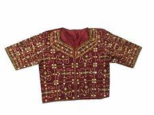 Om Vintage Indian Art Silk Rajsthani Hand Beaded Maroon Blouse Choli Size-L B24
