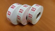 3000 Self-Adhesive 20%, 40%, 50% Off Round Retail Labels Dot Stickers Tags